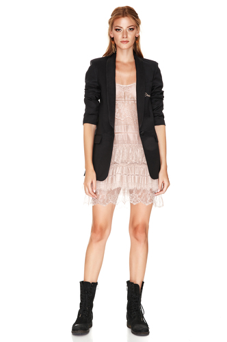 Black Silk Detail Blazer - PNK Casual