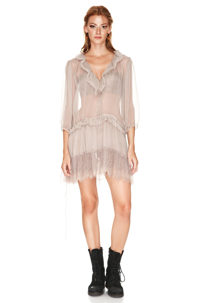 Beige Silk And Chantilly Lace Ruffled Dress