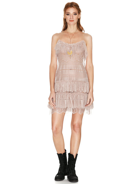 Rose Chantilly Lace Mini Dress
