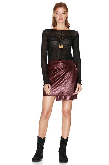 Burgundy Wool-Blend Skirt