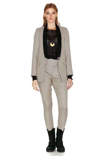 Beige Blazer With Black Silk Detail - PNK Casual