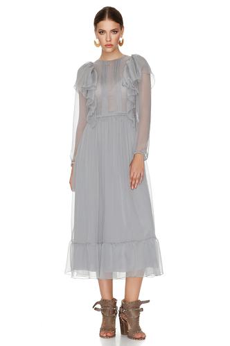 Grey Silk Chiffon Midi Dress - PNK Casual