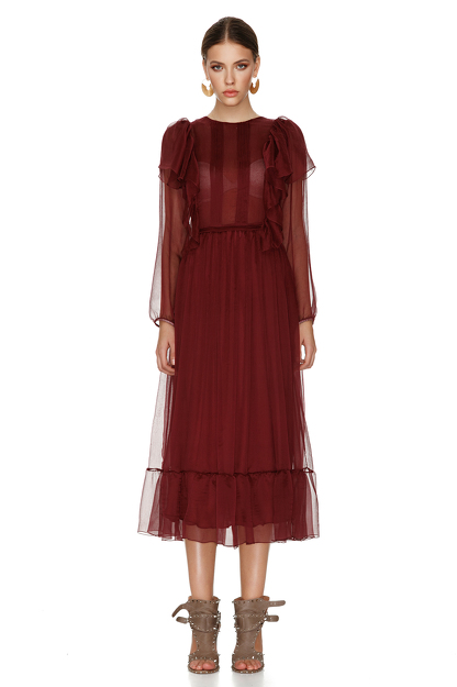 Burgundy Silk Chiffon Dress