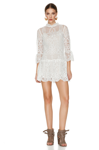 White Crocheted Floral Lace Dress - PNK Casual