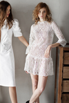 White Crocheted Floral Lace Dress