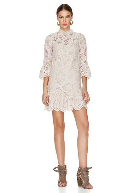 Beige Pink Floral Lace Mini Dress