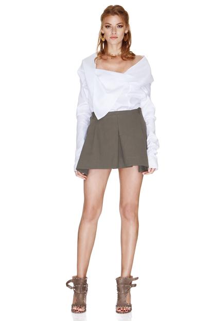 White Shirt With Asymmetric Collar