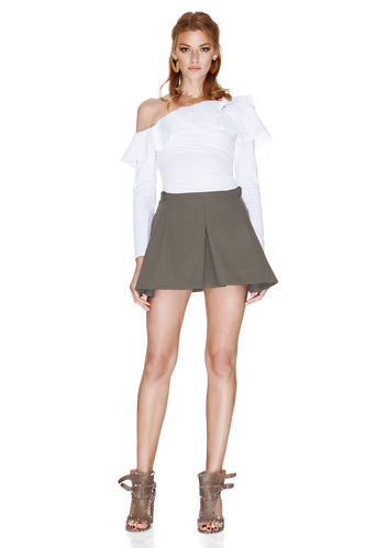 White One Shoulder Shirt With Ruffles - PNK Casual