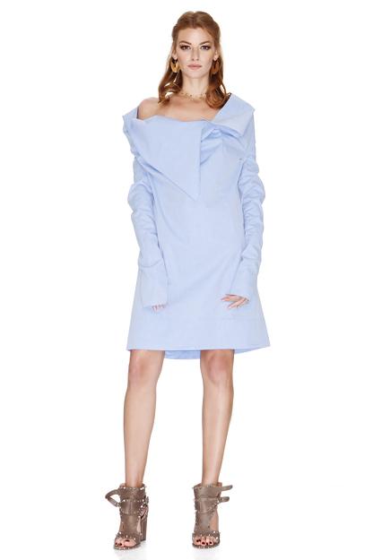 Blue Dress With Asymmetric Collar