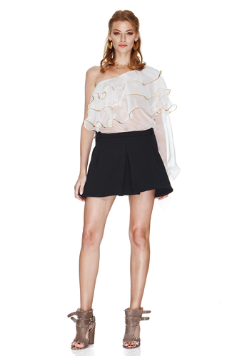 White Silk Chiffon One Shoulder Blouse - PNK Casual