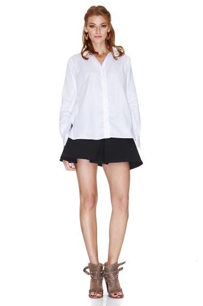 White Shirt With Back Ruffle