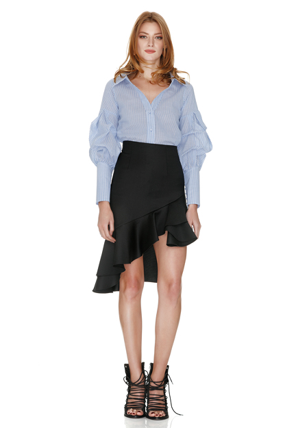 Blue Shirt With Sleeve Details